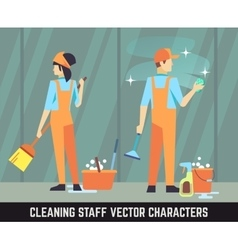 Cleaning staff characters woman and man vector image