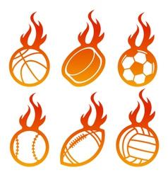 Fire Sport Balls Logo vector image vector image