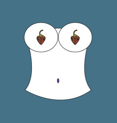 flat icon design collection boobs and strawberry vector image
