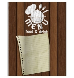 frame restaurant menu wooden boards white paint vector image