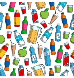Fruit drinks and dairy beverages seamless pattern vector image vector image