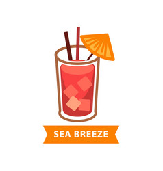 popular cocktail sea breeze with ice cubes and vector image vector image