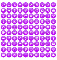 100 help desk icons set purple vector