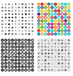 100 musical goods icons set variant vector image