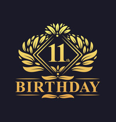 11 years birthday logo luxury golden 11th vector