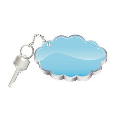 3d realistic metal key with keyring in cloud shape vector image