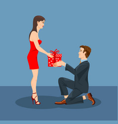 a man gives gift to his beloved woman vector image