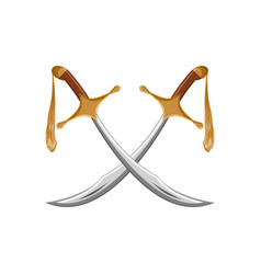 A pair of traditional turkish swords scimitar vector