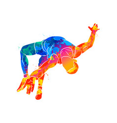 Abstract athlete jumps in height from splash vector