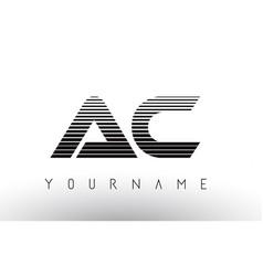 Ac black and white horizontal stripes letter logo vector