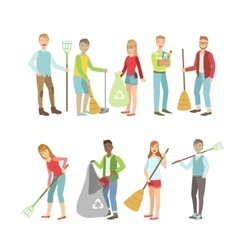 Adult People Cleaning Up Outdoors vector