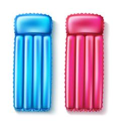 Air floating mattress pink blue set vector