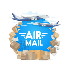 air mail and shipping parcels and letters vector image