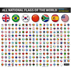 All national flags of the world circle convex vector