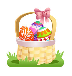 basket with colored easter eggs vector image