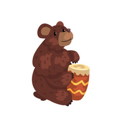 Bear playing drum cartoon animal character with vector
