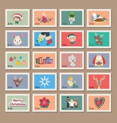 big collection of christmas stamps vector image