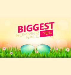 biggest summer sale poster sunglasses in vector image