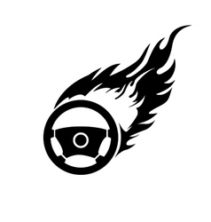 Black and white burning automobile steering vector image