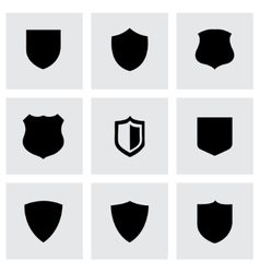 black shield icons set vector image