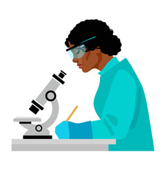 Black woman scientist looking through microscope vector