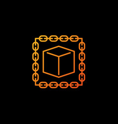 blockchain with cube orange icon or design vector image