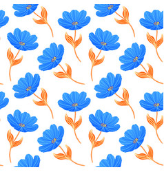blue tulips on white background vector image
