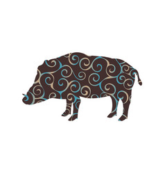 Boar wildlife color silhouette animal vector