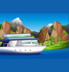 Boat on lake scene vector