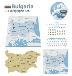 Bulgaria maps with markers vector