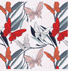 Butterfly floral fabric background nature vector