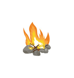 cartoon bonfire with hot orange flame and firewood vector image