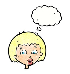 cartoon shocked expression with thought bubble vector image