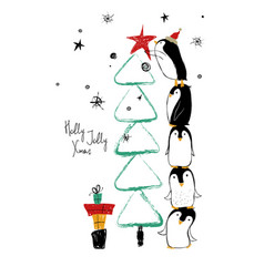 Christmas card with penguins and tree vector