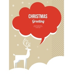 christmas greeting card with white Christmas deer vector image