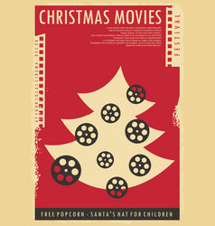 christmas movies festival conceptual poster design vector image