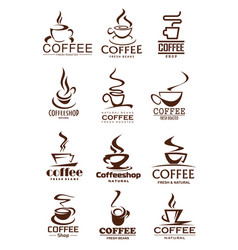 Coffee cup icons for coffeeshop and cafe design vector