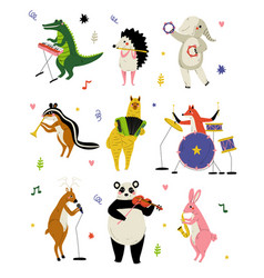 Collection cute cartoon animals musicians vector