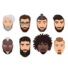 Colorful cartoon hipsters bearded men guys avatars vector