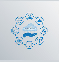 Computer cloud sign blue color vector