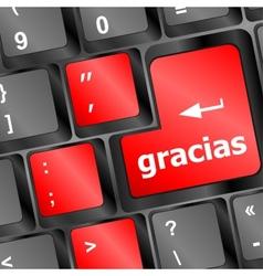 Computer keyboard keys with word Gracias Spanish vector image
