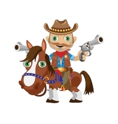 Cowboy rider on a stallion Wild West character vector image
