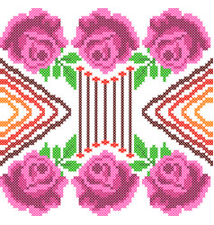 cross stitch embroidery rose floral design vector image