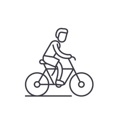 cycling trip line icon concept cycling trip vector image