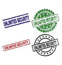 Damaged textured unlimited security seal stamps vector