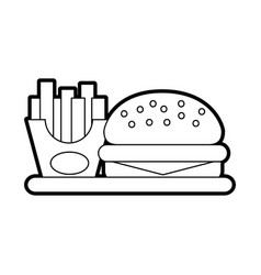 Delicious burger with french fries vector