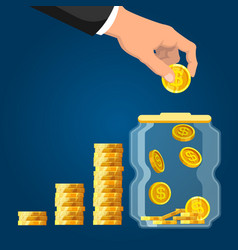 deposit account businessman hand putting coin vector image