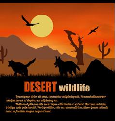 desert wildlife poster wolves silhouettes on vector image