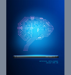 digital circuit brain from smartphone 3d vector image