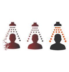 Dispersed pixel halftone patient disinfection icon vector